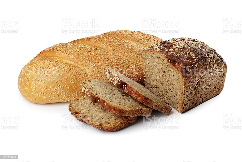Two loaves with sesame seed and cereal stock photo