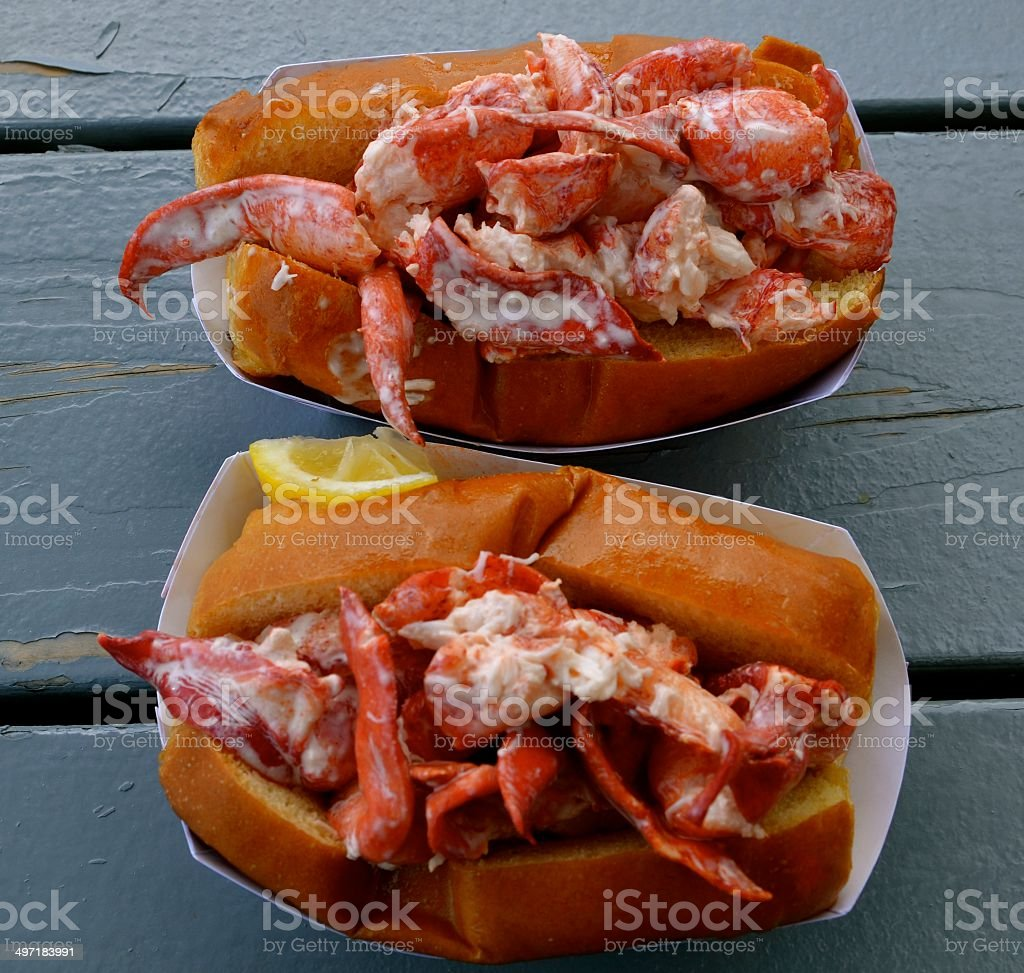 two lobster rolls stock photo