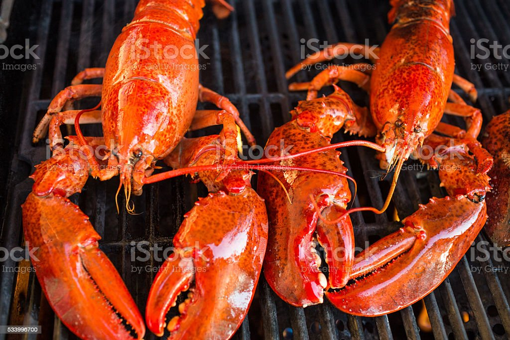 Two lobsters on the barbecue stock photo