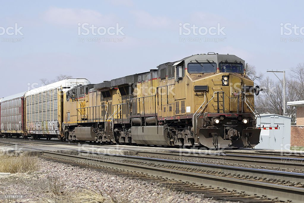 Two locomotives with a freight train stock photo