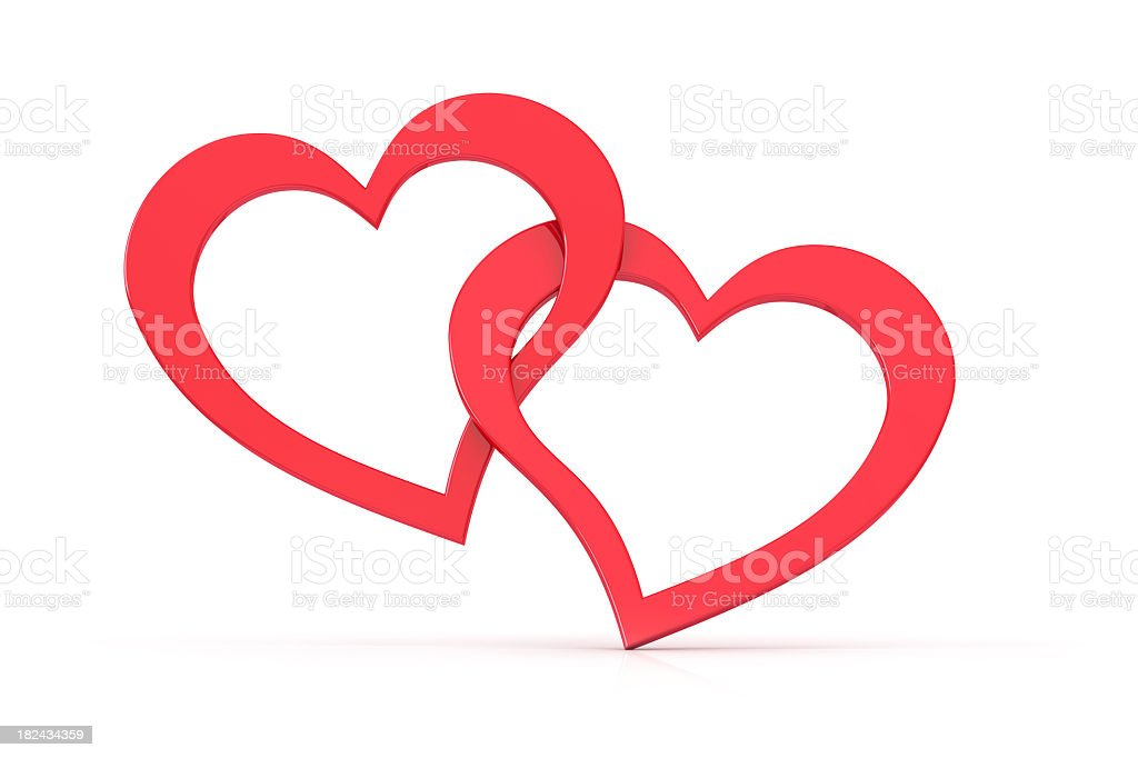 Two loving hearts together forever stock photo