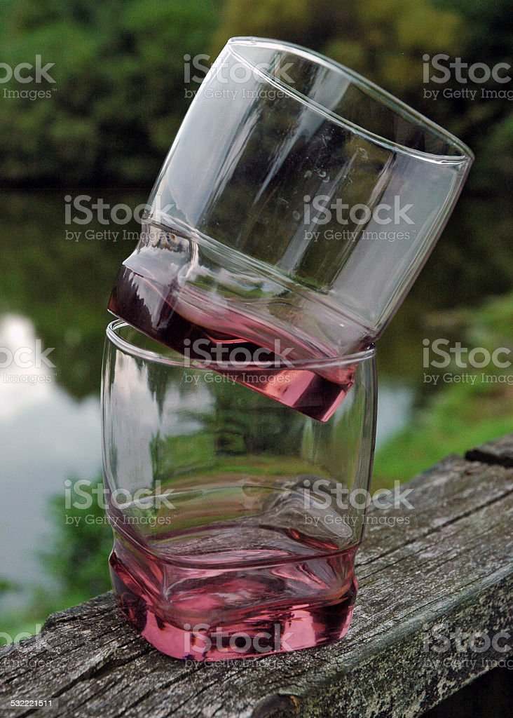 Two Lowball Drinking Glasses Outside stock photo