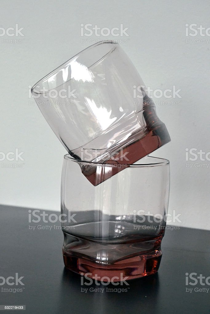 Two Lowball Drinking Glasses stock photo
