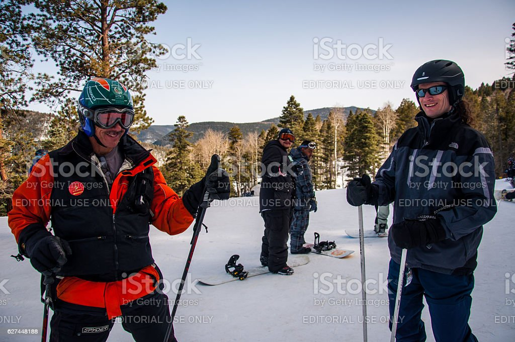 Two Lucky Owners of New Mexico Ski Resort Enjoying Winter stock photo