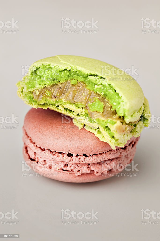 Two macaroons on gray background stock photo