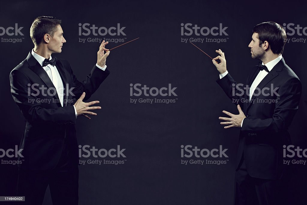 Two magicians stock photo