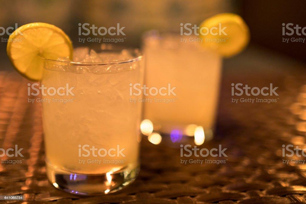 Two Mai Tai cocktails stock photo