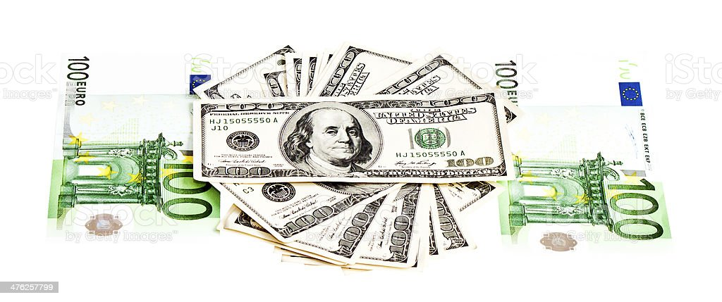 Two main currencies: US dollar and euro royalty-free stock photo