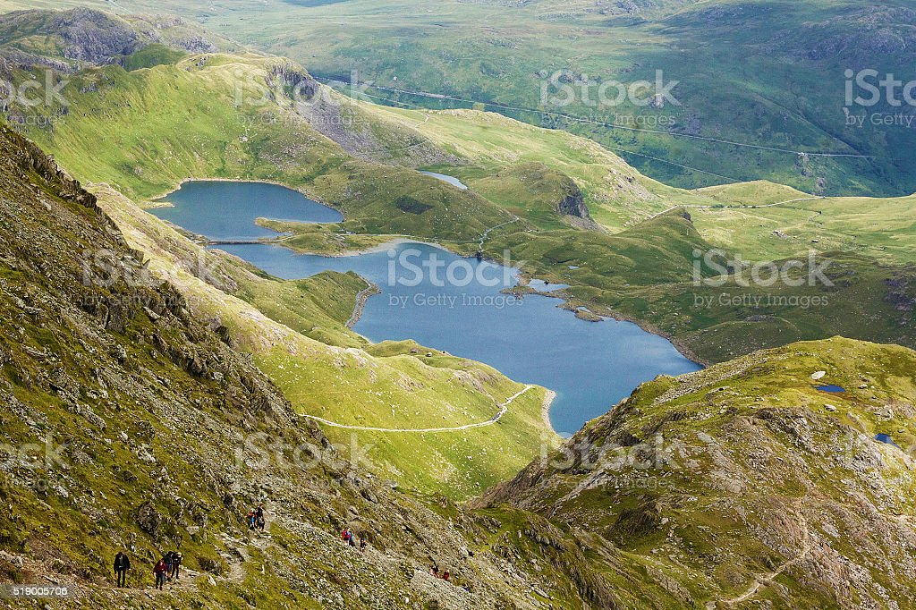 Due Laghi di Snowdonia foto stock royalty-free