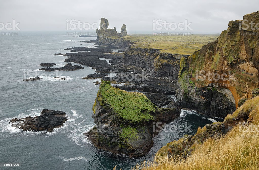 Two major basalt formations at Londrangar stock photo