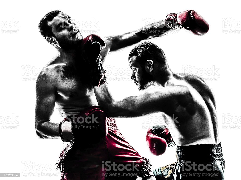 Two male boxers fighting on white background stock photo