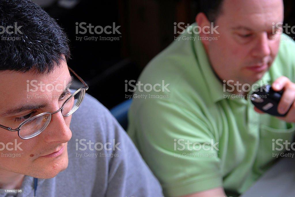 Two Male Communication Operators stock photo