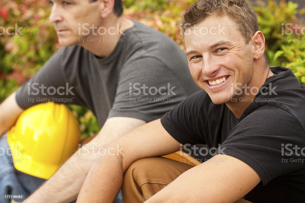 Two Male Construction Workers royalty-free stock photo