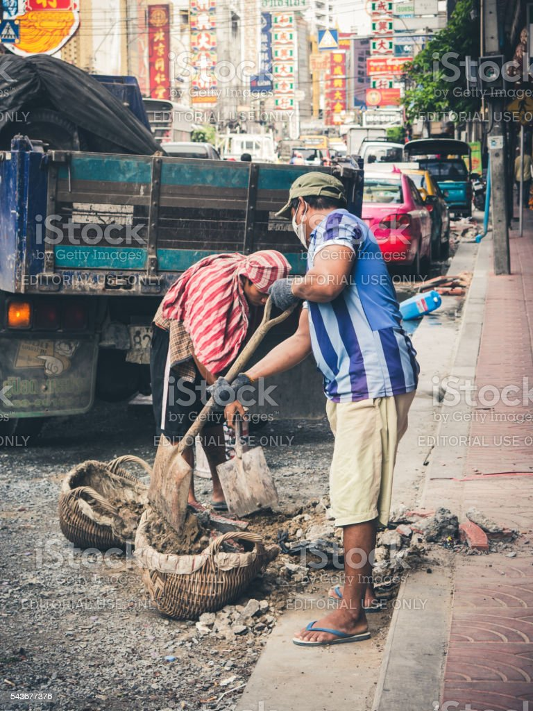 Two Male Construction Workers Thailand Asia stock photo