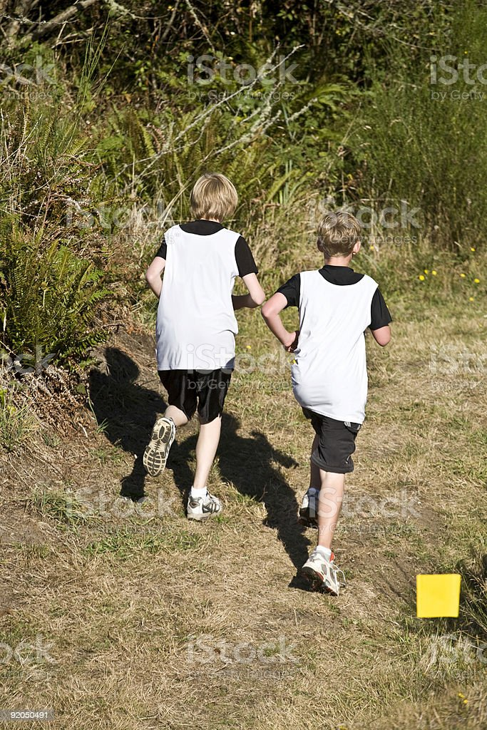 Two Male Cross Country Runners  stock photo