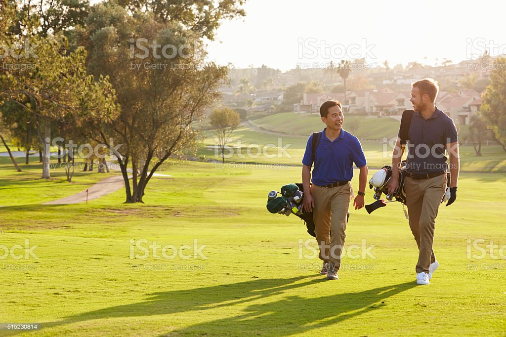 Two Male Golfers Walking Along Fairway Carrying Bags stock photo