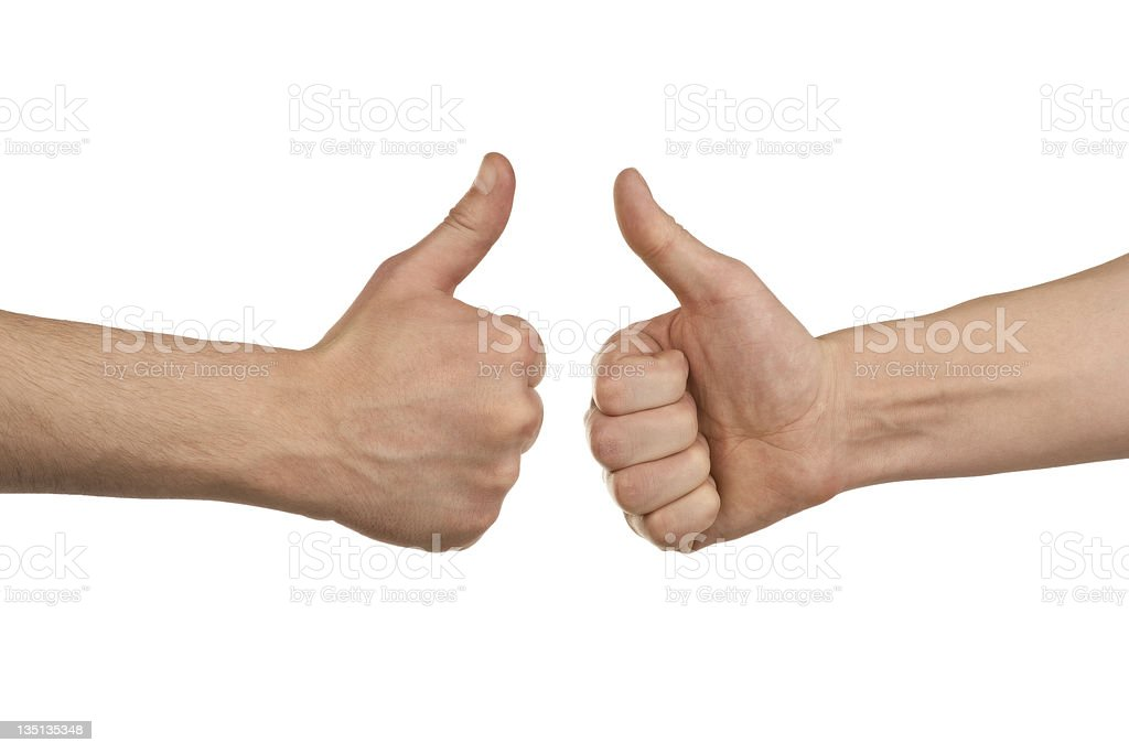 Two male hands showing thumbs up stock photo