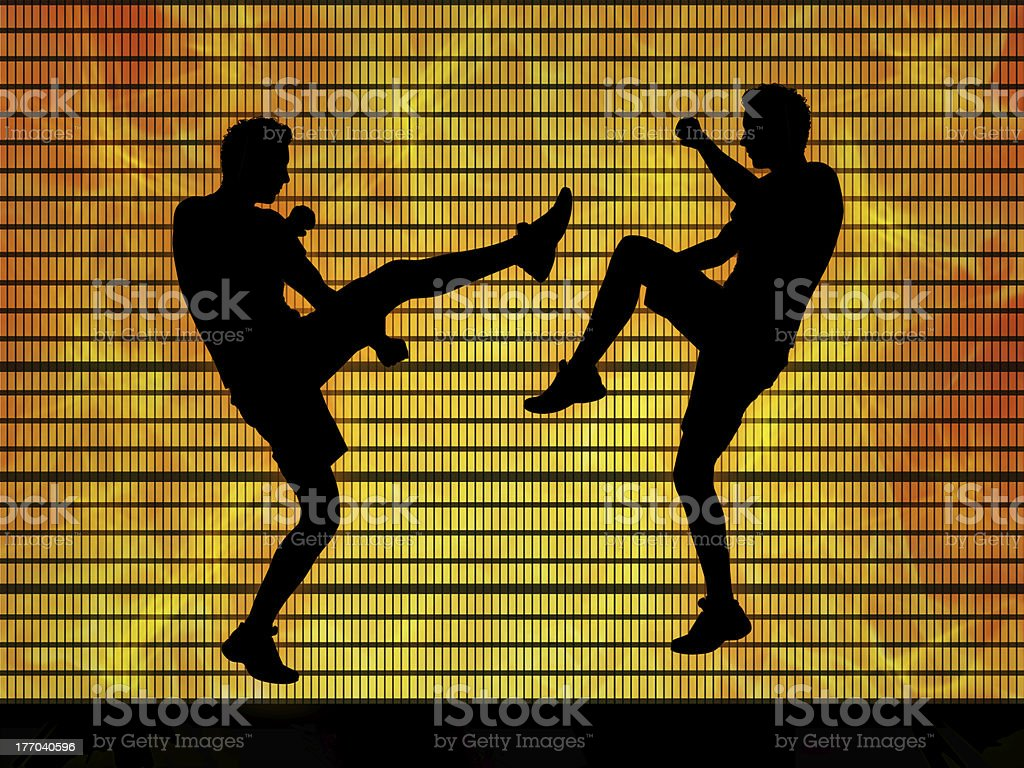 two man fighting on a fire background royalty-free stock photo