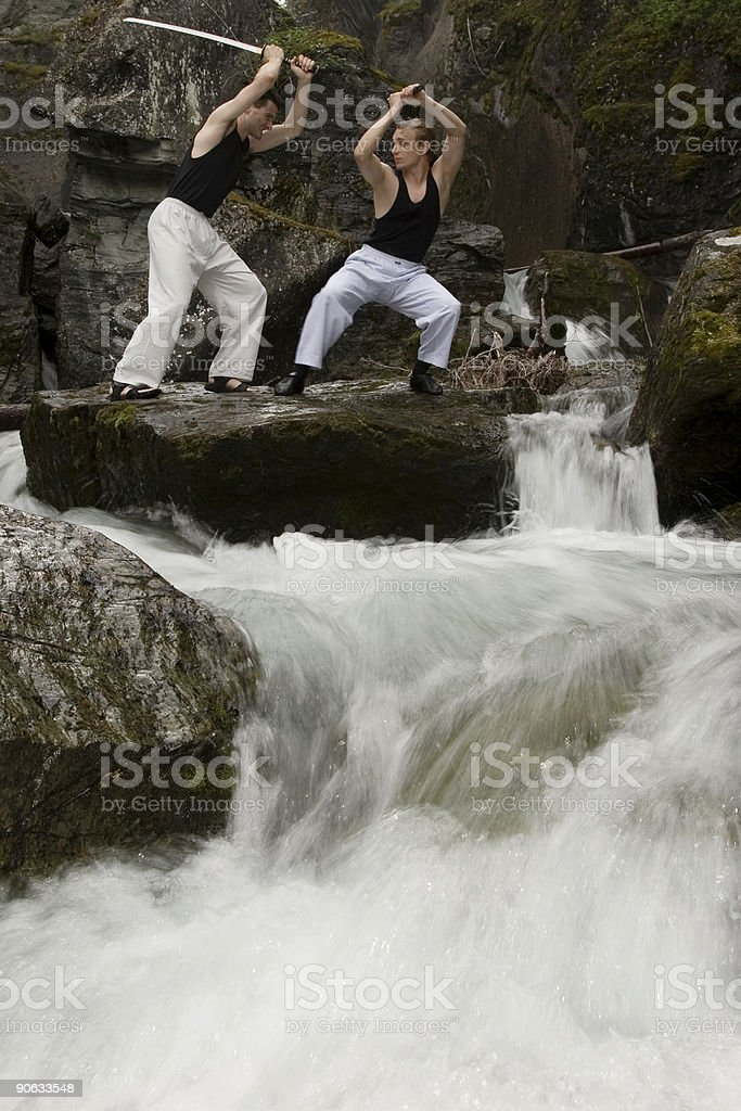 Two man fighting stock photo