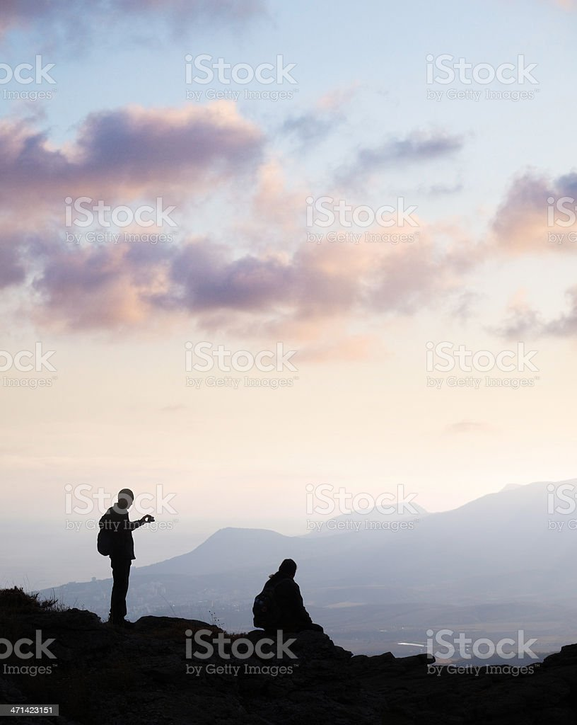 Two man on top of mountain royalty-free stock photo