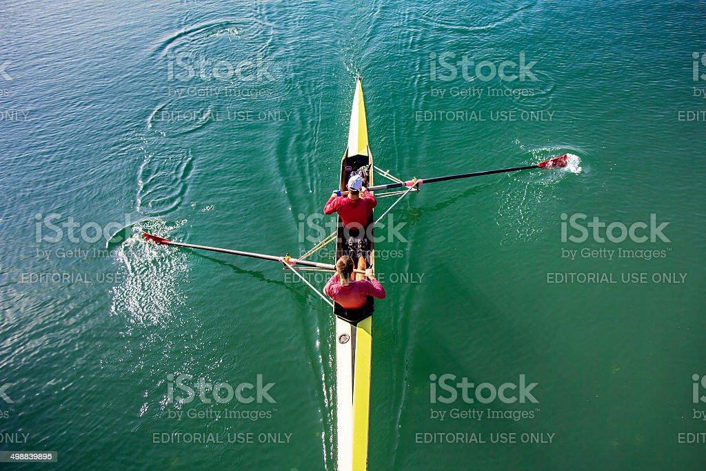 Two Man paddling stock photo