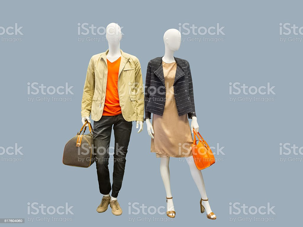 Two mannequins dressed in casual clothes stock photo