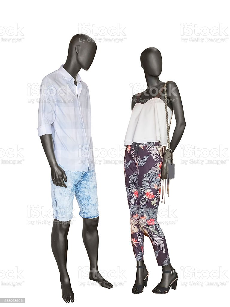 Two mannequins, male and female stock photo
