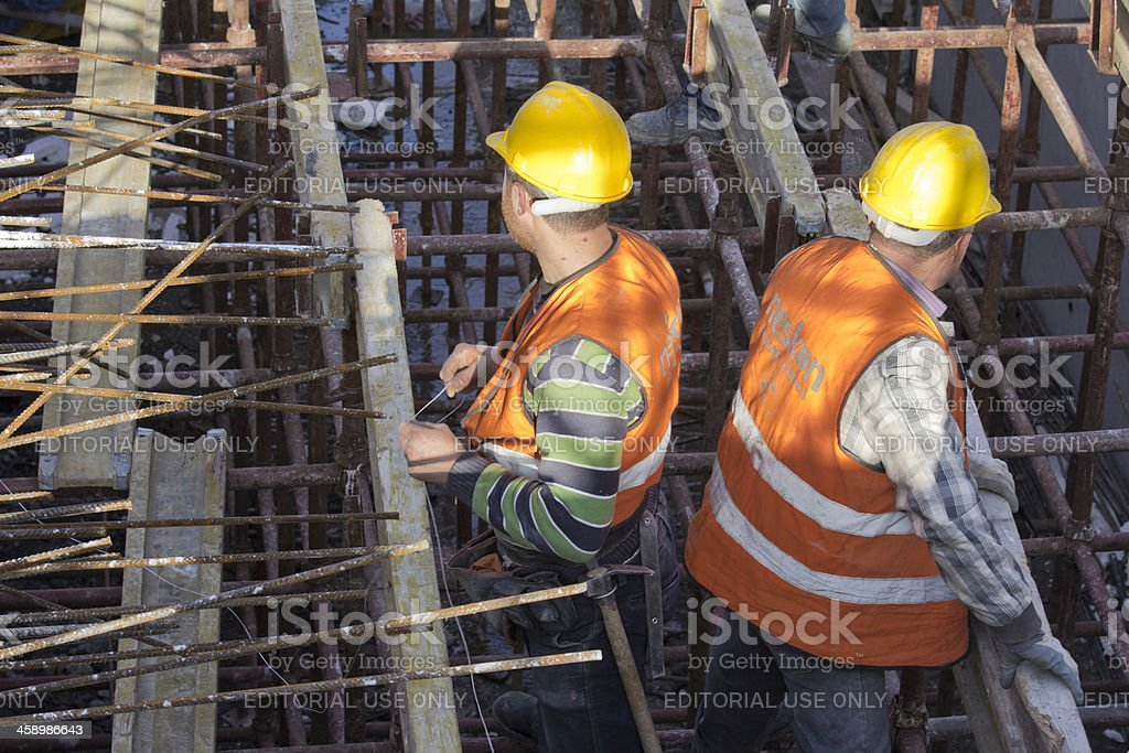 Two Manual Workers at Ulus-Kecioren Underground Construction Site, Ankara royalty-free stock photo