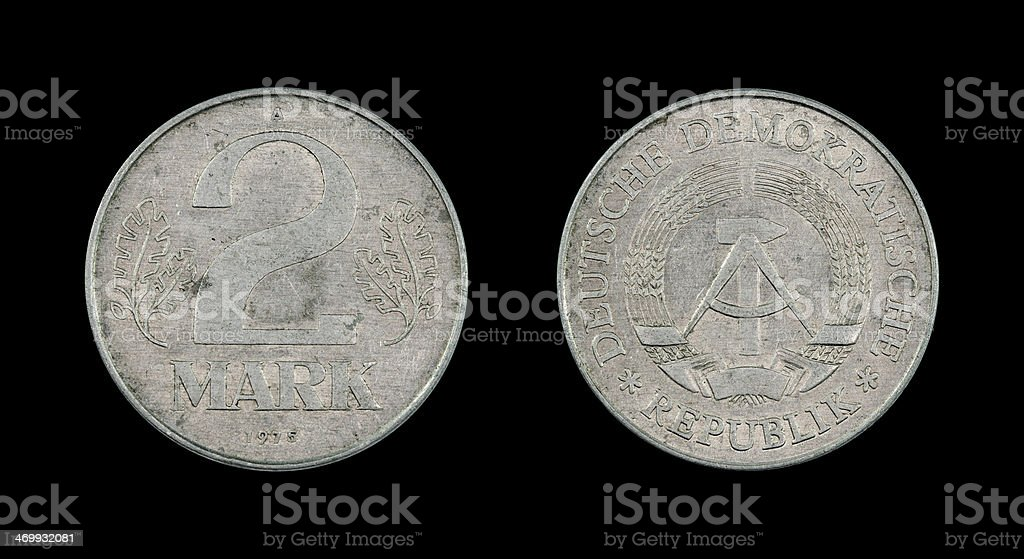 Two Mark Coin, GDR, 1975 stock photo