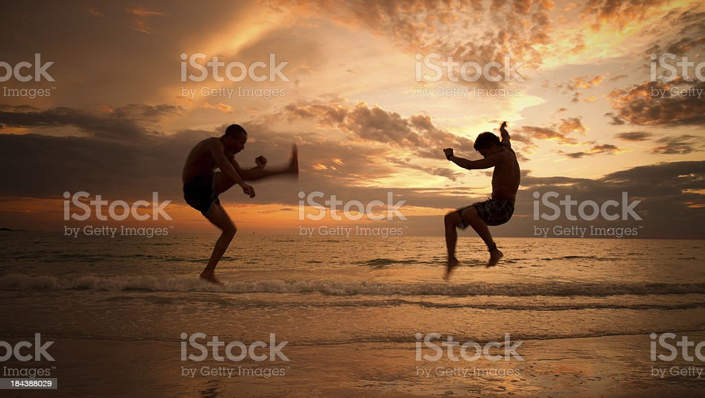 Two martial artists at sunrise stock photo