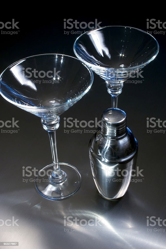 Two Martini Glasses and a Shaker royalty-free stock photo