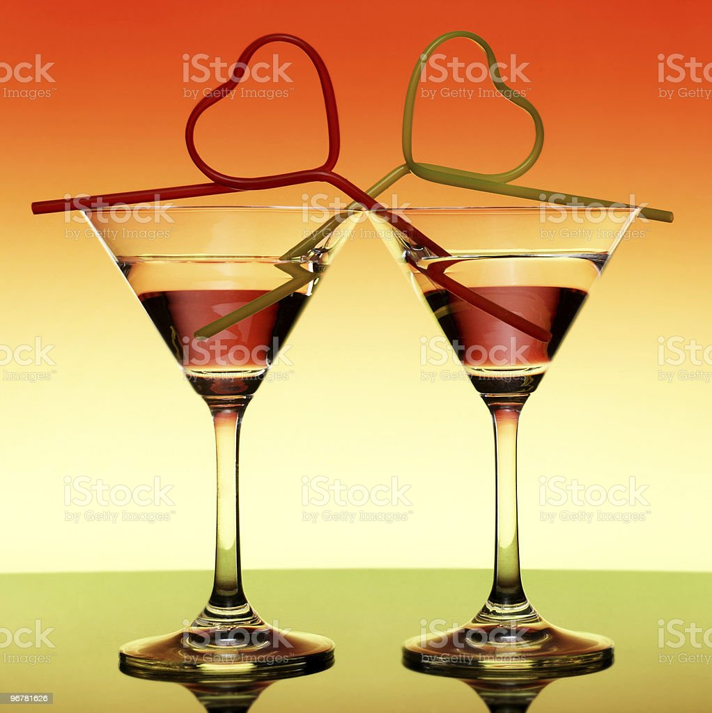 Two Martini on a bright background royalty-free stock photo