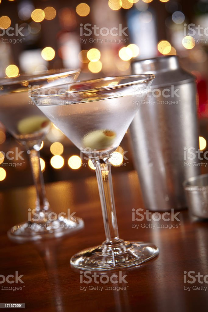two Martinis at a bar stock photo