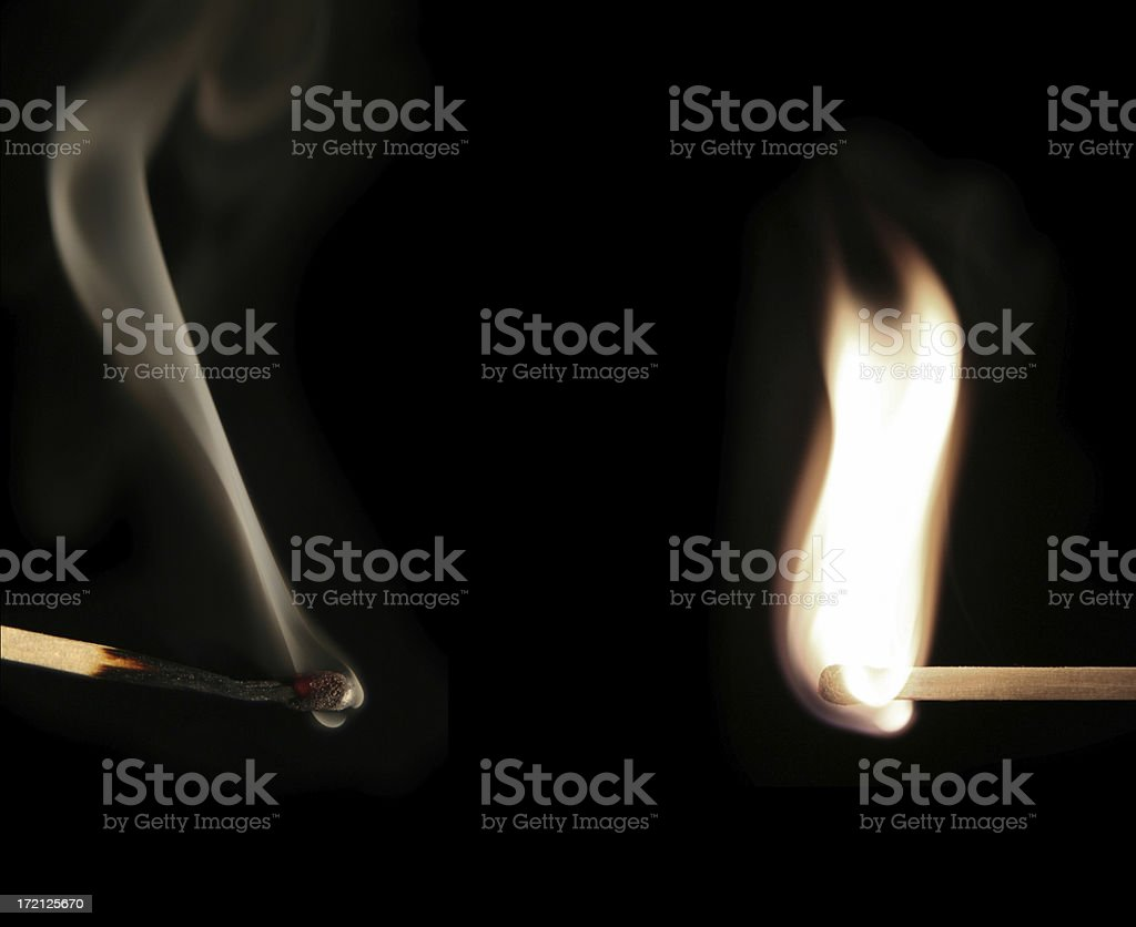 Two matches. Fired and not. stock photo