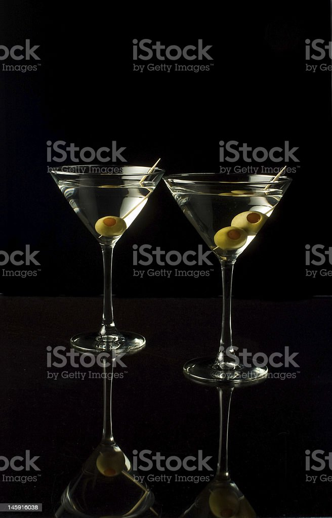 Two matrinis with olives royalty-free stock photo
