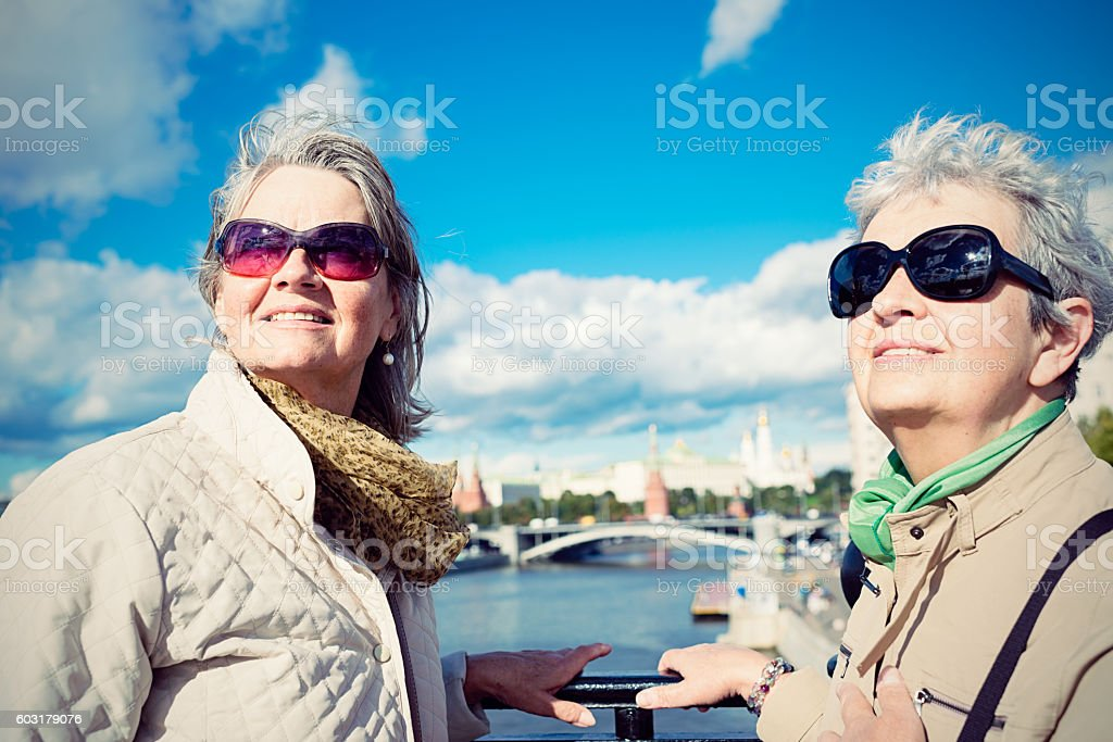 Two mature women looking at view in Moscow stock photo