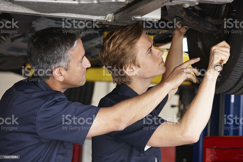 Two mechanics working on the underside of a car royalty-free stock photo