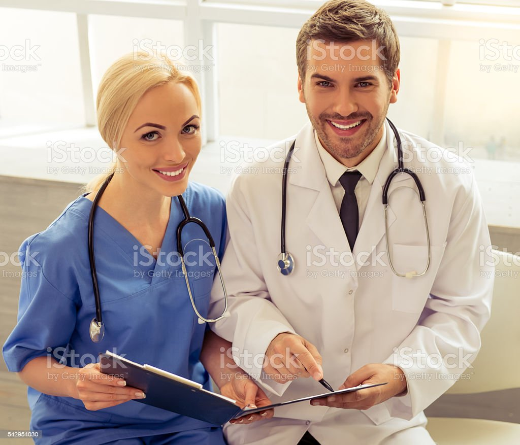 Two medical doctors stock photo