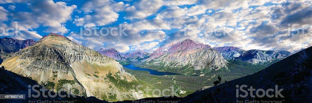 Two Medicine Lake Panorama stock photo