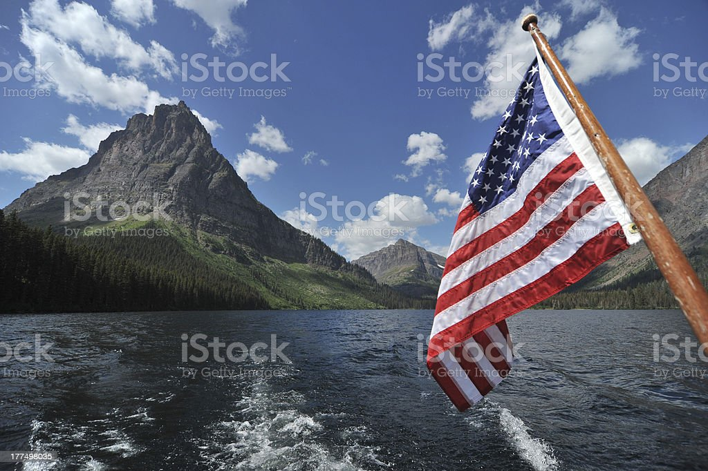Two Medicine Lake with flag. royalty-free stock photo