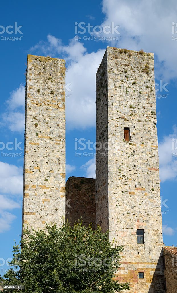Two medieval towers stock photo