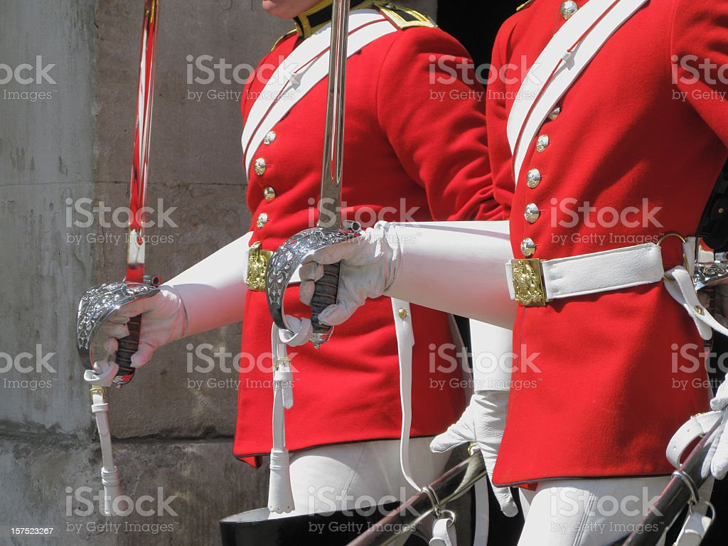 Two members of the Household Cavalry. royalty-free stock photo
