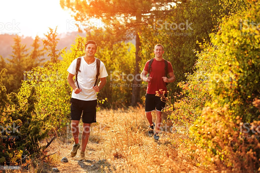 Two men are hiking in forest stock photo