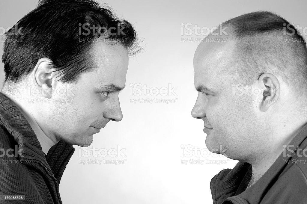 two men B&W royalty-free stock photo