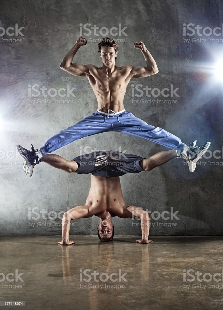 Two men dancing royalty-free stock photo