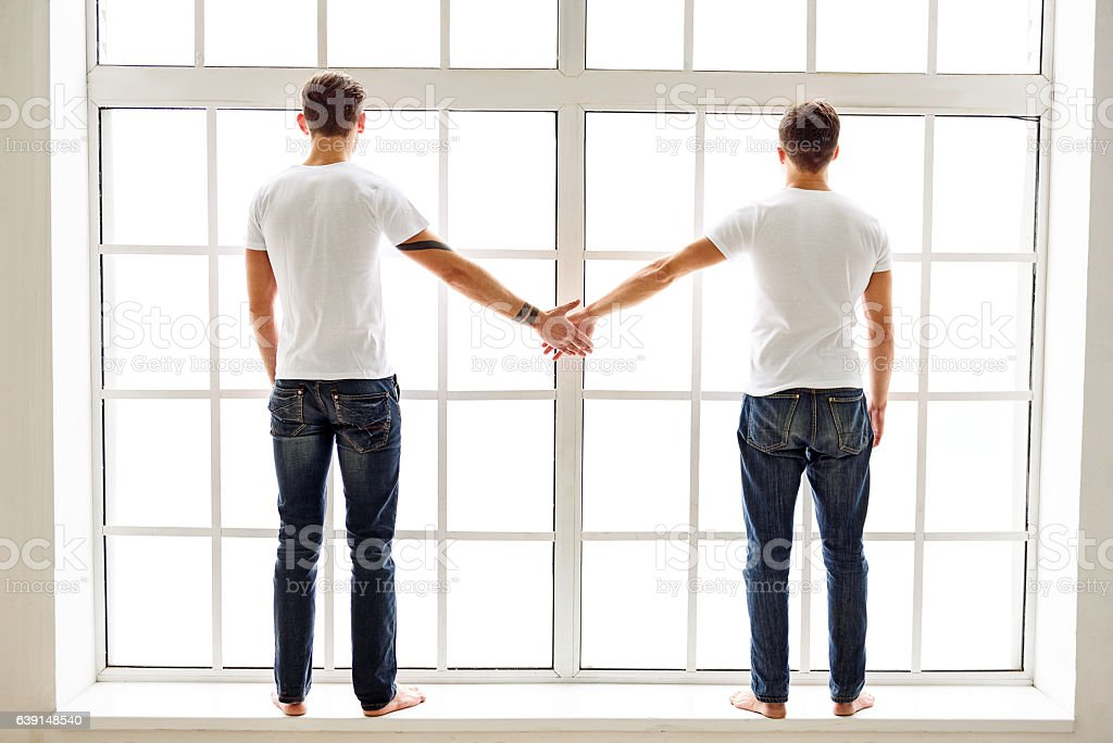 Two men expressing their love stock photo