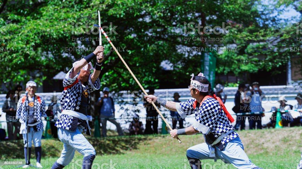 Two men fighting by katana sword in Japan stock photo
