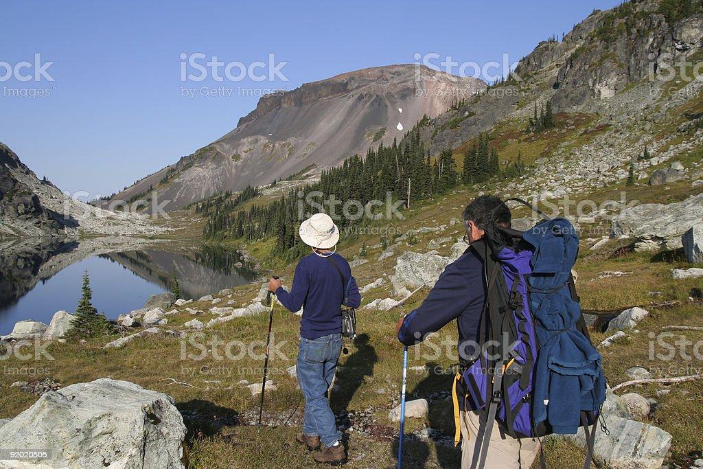 Two Men Hiking at Ring Lake royalty-free stock photo