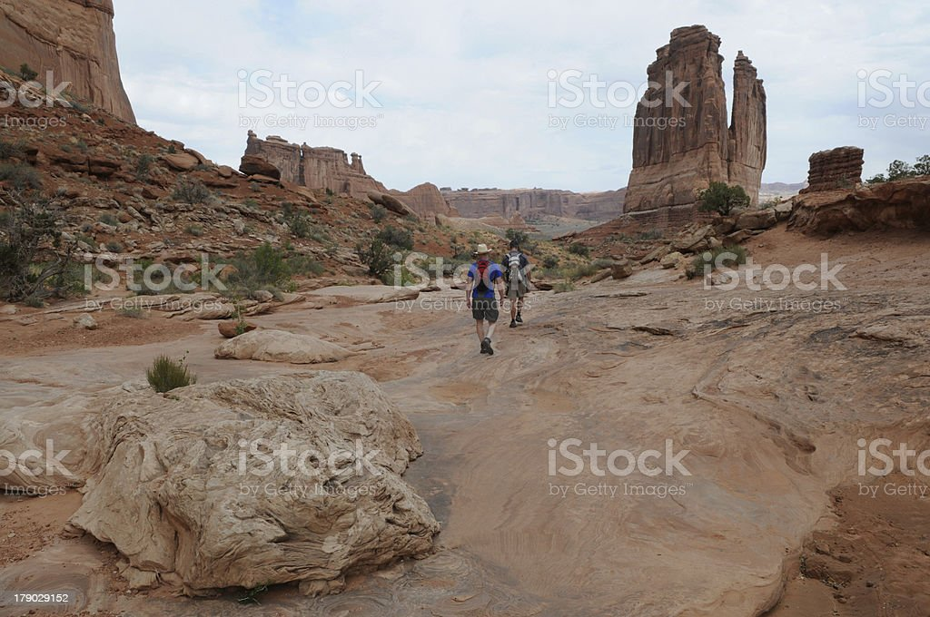 Two Men Hiking in Utah royalty-free stock photo