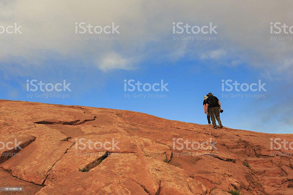 Two Men Hiking stock photo